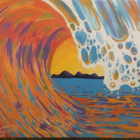 (CreativeWork) Waves at sunset by Caleb Miller. Acrylic Paint. Shop online at Bluethumb.