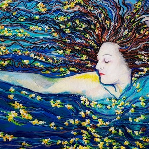 (CreativeWork) Sea star dreaming she is a woman by Tea Ercoles. mixed-media. Shop online at Bluethumb.