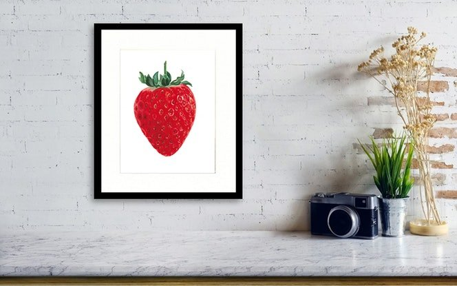 (CreativeWork) Strawberry - Watercolour Painting by Natasha Junmanee. Watercolour Paint. Shop online at Bluethumb.