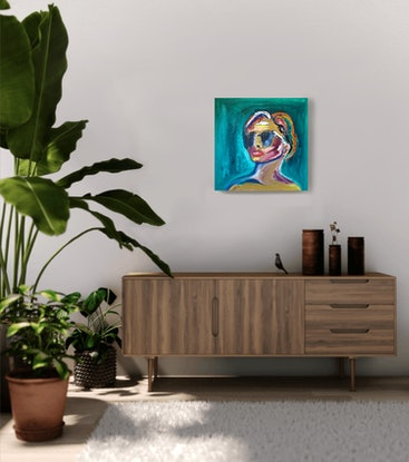 (CreativeWork) Sunglasses and red lips by Jessica Gordon. Oil Paint. Shop online at Bluethumb.