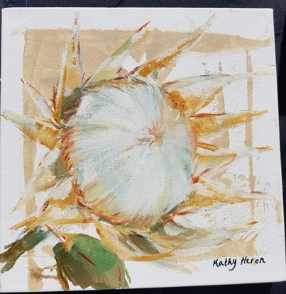 (CreativeWork) Protea1 by Kathy Heron. Oil Paint. Shop online at Bluethumb.