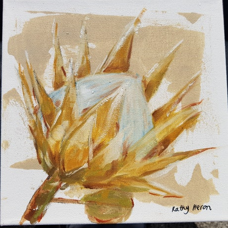 (CreativeWork) Protea 2 by Kathy Heron. Oil Paint. Shop online at Bluethumb.
