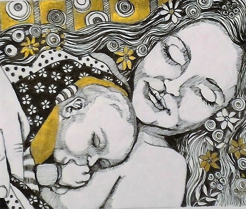 (CreativeWork) So much love #1 by Wilna ten Cate. Drawings. Shop online at Bluethumb.