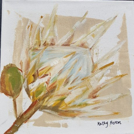 (CreativeWork) King Protea 3 by Kathy Heron. Oil Paint. Shop online at Bluethumb.
