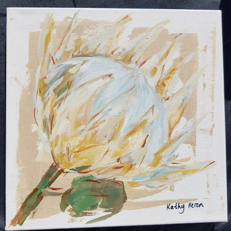 (CreativeWork) King Protea 4 by Kathy Heron. Oil Paint. Shop online at Bluethumb.