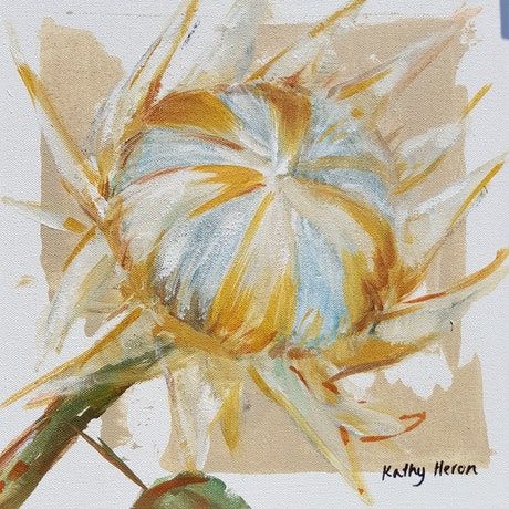 (CreativeWork) Protea 5 by Kathy Heron. Oil Paint. Shop online at Bluethumb.