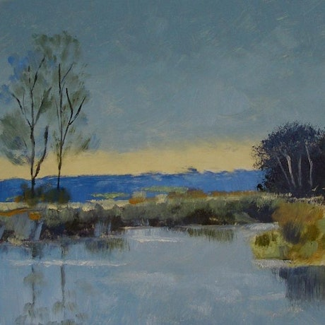 (CreativeWork) BLUE POND by Basil Mitchell. Oil Paint. Shop online at Bluethumb.