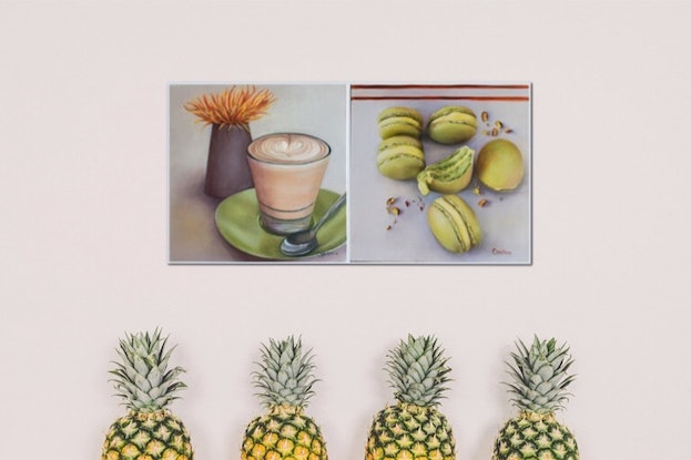 (CreativeWork) Latte Moment by Catherine Wallace. Oil Paint. Shop online at Bluethumb.