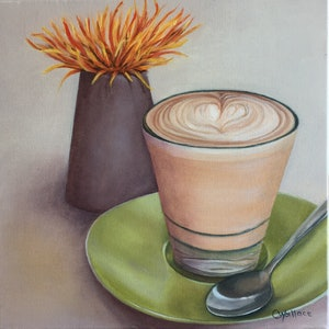 (CreativeWork) Latte Moment by Catherine Wallace. oil-painting. Shop online at Bluethumb.
