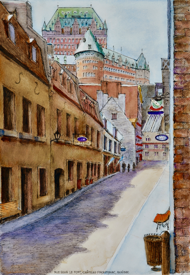 (CreativeWork) Québec, Rue Sous Le Fort, Château Frontenac by Dai Wynn. Watercolour Paint. Shop online at Bluethumb.