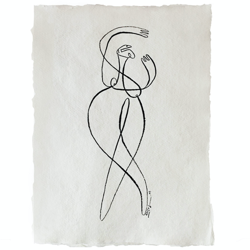 (CreativeWork) 'Ballerina' Ink on Handmade Rag Paper - A4 Unframed by Angus Martin. Drawings. Shop online at Bluethumb.