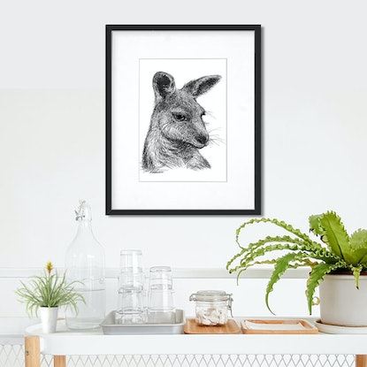 (CreativeWork) Beautiful Roo - pen and ink drawing by Nadya Neklioudova. Drawings. Shop online at Bluethumb.