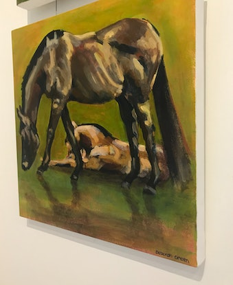 (CreativeWork) Eating for Two (horses) by Deborah Green. Acrylic Paint. Shop online at Bluethumb.