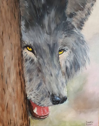 (CreativeWork) The wolf by Dasha Roach. Acrylic Paint. Shop online at Bluethumb.