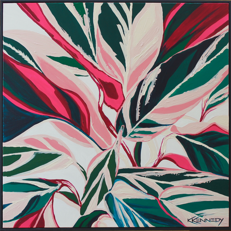 (CreativeWork) Stromanthe Triostar by Kate Kennedy. Acrylic Paint. Shop online at Bluethumb.