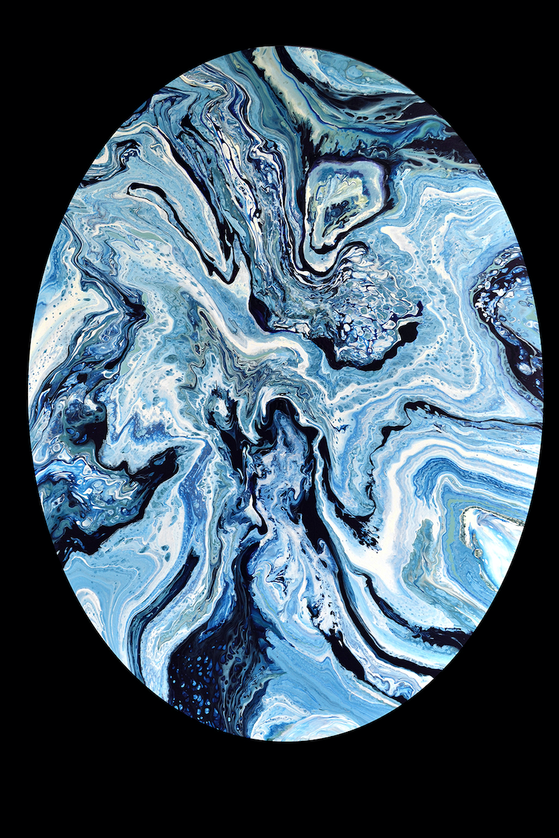 (CreativeWork) Blue Atolls by Brigitte Ackland. Acrylic Paint. Shop online at Bluethumb.