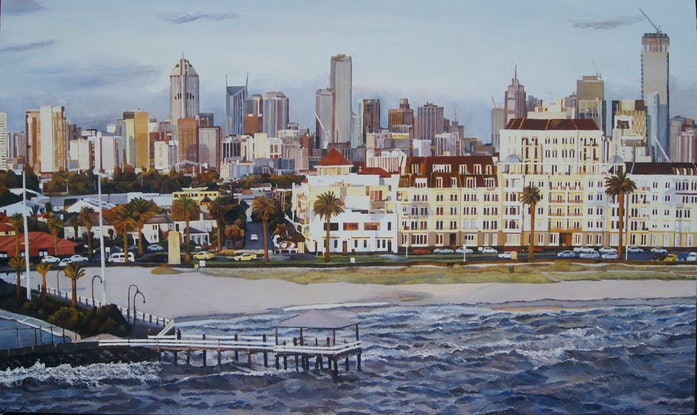 (CreativeWork) Ferry  Departure,  Melbourne by Andrea Henderson. Oil Paint. Shop online at Bluethumb.