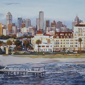 (CreativeWork) Ferry  Departure,  Melbourne by Andrea Henderson. oil-painting. Shop online at Bluethumb.