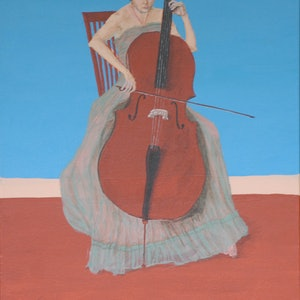(CreativeWork) The Cellist by Tracey Murrell. arcylic-painting. Shop online at Bluethumb.