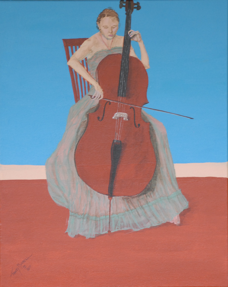 (CreativeWork) The Cellist by Tracey Murrell. Acrylic Paint. Shop online at Bluethumb.