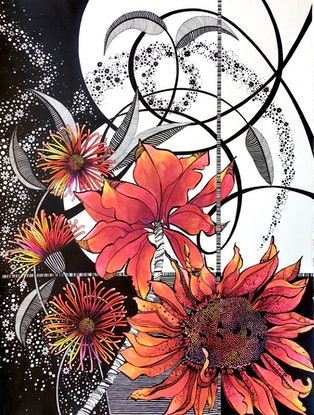(CreativeWork) Red Gerbera 2 by Tania Daymond. Drawings. Shop online at Bluethumb.