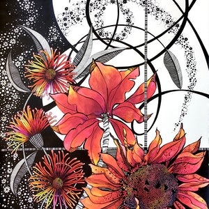 (CreativeWork) Red Gerbera 2 by Tania Daymond. drawing. Shop online at Bluethumb.