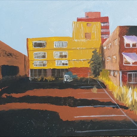 (CreativeWork) Sunset Cityscape by Alison Sherlock. Acrylic Paint. Shop online at Bluethumb.