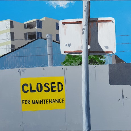(CreativeWork) Closed Indefinitely  by Alison Sherlock. Acrylic Paint. Shop online at Bluethumb.