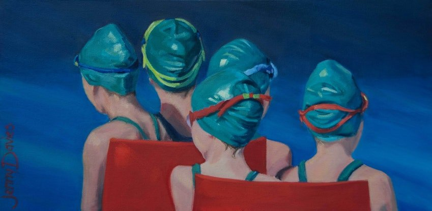 """(CreativeWork) """"The swimming race"""" by Jenny Davies. Oil Paint. Shop online at Bluethumb."""
