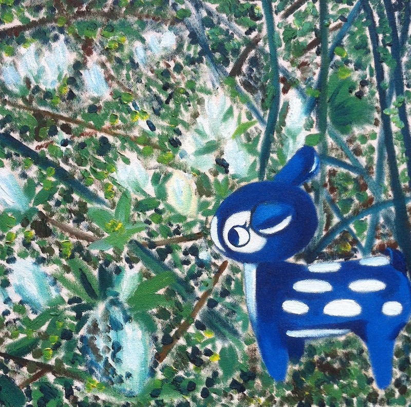 (CreativeWork) Oh deer, Spring (2018) - Painting by Tanya Lu. Oil Paint. Shop online at Bluethumb.