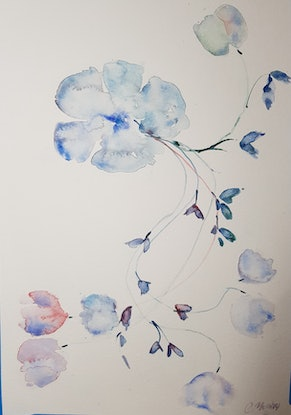 (CreativeWork) Peaceful  by Christine Manby. Watercolour Paint. Shop online at Bluethumb.