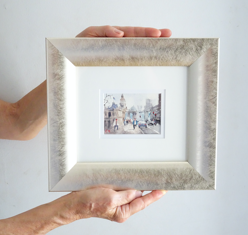 (CreativeWork) Meet You At Town Hall (Miniature Painting) by Chrysovalantou Mavroudis. Watercolour Paint. Shop online at Bluethumb.