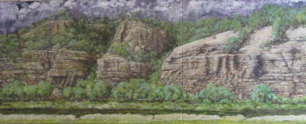 (CreativeWork) Ancient Wall by Raymond Wittenberg. Oil Paint. Shop online at Bluethumb.