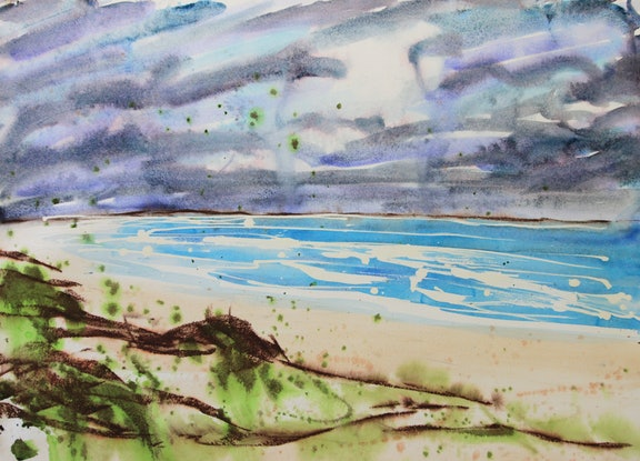 (CreativeWork) Windy day in Hawkes Nest, NSW by Gavin Bridge. Watercolour Paint. Shop online at Bluethumb.
