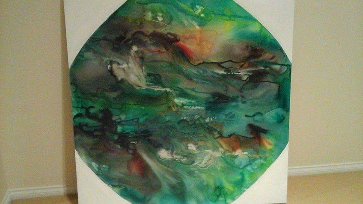 (CreativeWork) Another Earth by Sharon Wood. Acrylic Paint. Shop online at Bluethumb.