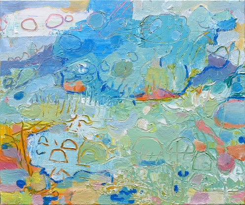 (CreativeWork) Drifting Clouds over the Landscape by Joseph Villanueva. Acrylic Paint. Shop online at Bluethumb.