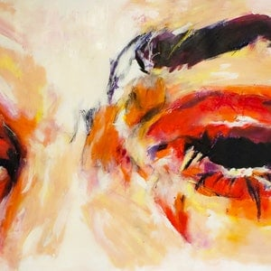 (CreativeWork) Ellys  Eyes by Rebecca lam. arcylic-painting. Shop online at Bluethumb.