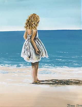 (CreativeWork) Girl on beach by Jennie Jones. Acrylic Paint. Shop online at Bluethumb.