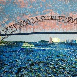 (CreativeWork) Bridge Sunset by Geoff Hargraves. arcylic-painting. Shop online at Bluethumb.