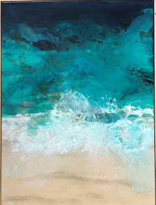 (CreativeWork) Waves roll in  by Sue Dyde. Mixed Media. Shop online at Bluethumb.