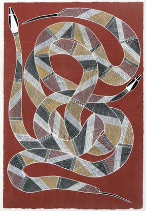 (CreativeWork) Nawaran (Oenpelli Python) 848-18 by Jeremiah Garlngarr. Acrylic Paint. Shop online at Bluethumb.