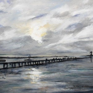 (CreativeWork) portland by Sue Dyde. arcylic-painting. Shop online at Bluethumb.