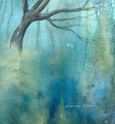 (CreativeWork) Snow Gums in the Mist 4. by Donna Maloney. Watercolour Paint. Shop online at Bluethumb.