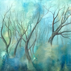 (CreativeWork) Snow Gums in the Mist 4. by Donna Maloney. watercolour. Shop online at Bluethumb.