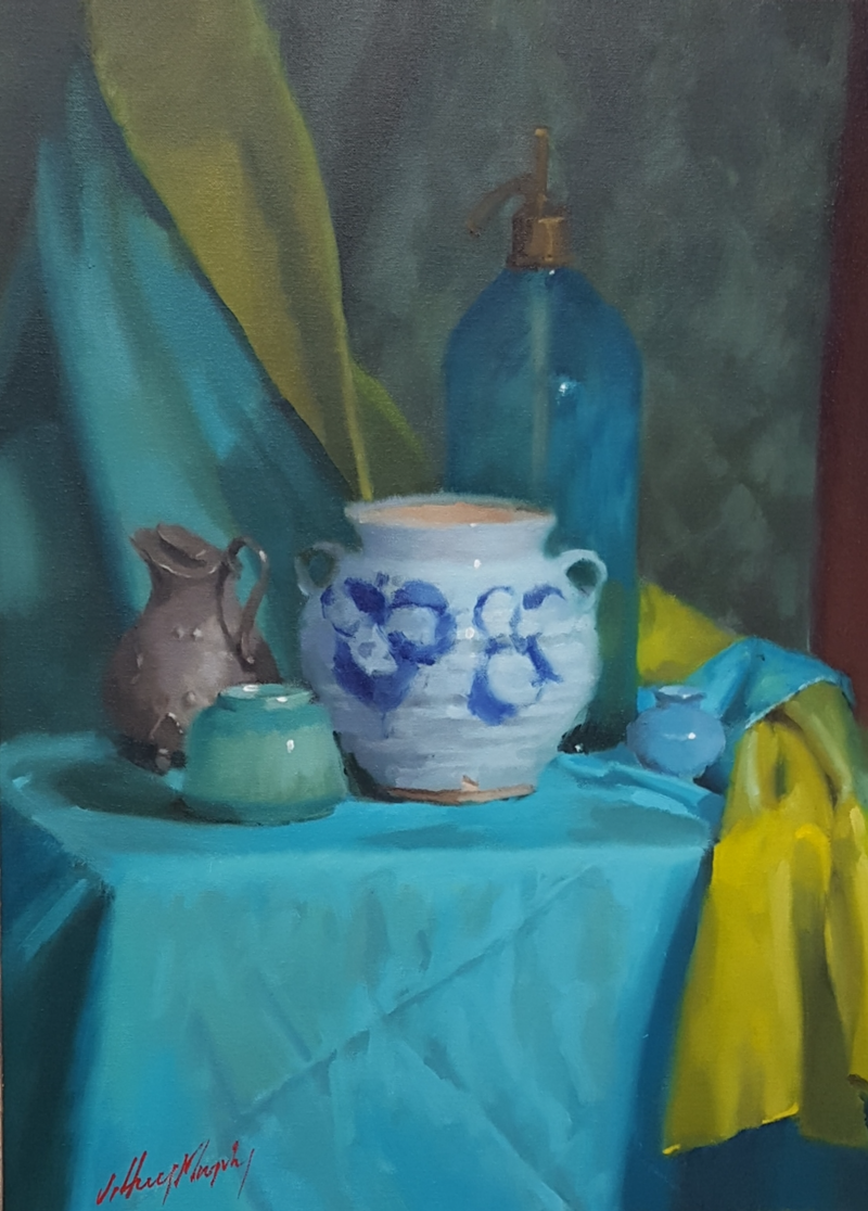 (CreativeWork) Still Life with a blue soda fountain by Jeffrey Murphy. Oil Paint. Shop online at Bluethumb.