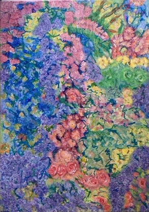 (CreativeWork) Whats in Nannas Garden by Kim Sayers. Acrylic Paint. Shop online at Bluethumb.