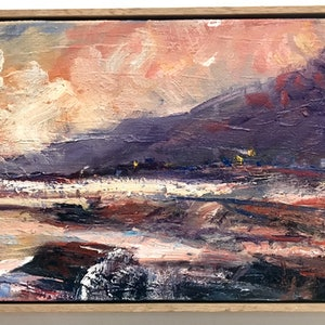 (CreativeWork) Austinmer on dusk by Rebecca Brennan. oil-painting. Shop online at Bluethumb.