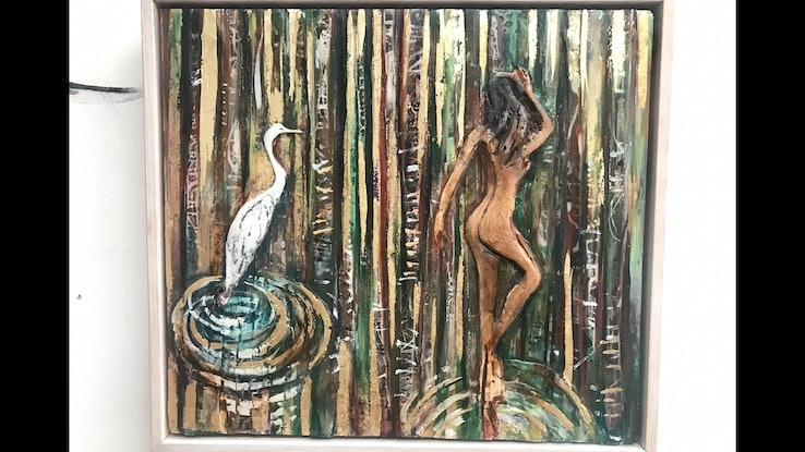 (CreativeWork) Leda and the Egret by Rebecca Brennan. Mixed Media. Shop online at Bluethumb.
