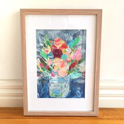 (CreativeWork) Flower Pot  Mixed Media Collage by Anna Pontikis. Mixed Media. Shop online at Bluethumb.
