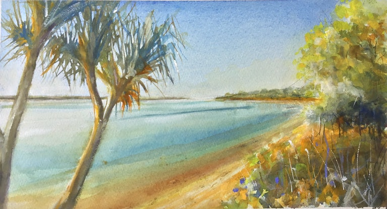 (CreativeWork) Dog Beach , Noosa River , Noosa , Queensland  by Geoff Stanistreet. Watercolour Paint. Shop online at Bluethumb.